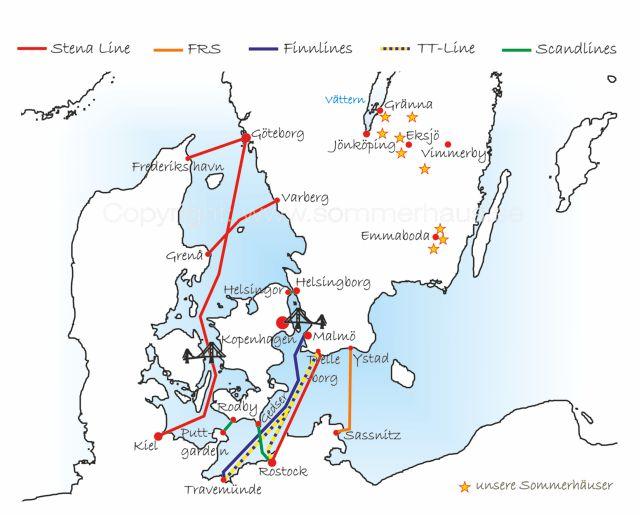 Alle Fährlinien die Sie zu unserem Ferienhaus nach Schweden bringen in einer Übersichtskarte.